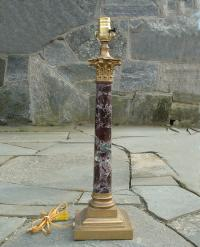 Antique Brass Mounted Marble Column Lamp circa 1900