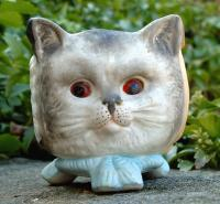 Antique Rare Victorian Cat Dog and Owl Face Porcelain Fairy Lamp
