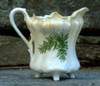 Antique R.S. Germany Hand Painted Porcelain Footed Cream Pitcher circa 1890