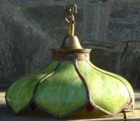 Antique Curved Panel Slag Glass Lamp circa 1890