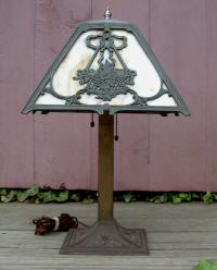 Vintage Transitional Victorian Slag Glass Lamp