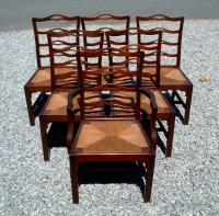 Set of 6 Chippendale Style Solid Mahogany Dining Chairs circa 1920