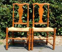Pair Antique American Maple Fiddle Back Chairs