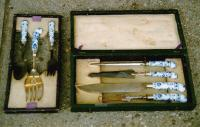 Antique meissen porcelain and steel carving set