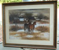 Watercolor on paper by Simka Simkhovitch horses in field