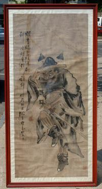 Antique Chinese ink and wash of Warrior Song Dynasty style