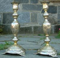 French Brass and Silver Plate Baroque Style Candlesticks