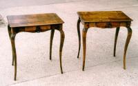 Pair of Antique French one drawer work tables in fruitwood