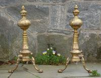 Antique Formal Tall Column Solid Brass Andirons