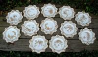 Antique Set of 12 English Cauldon Hand Painted Dessert Plates circa 1890
