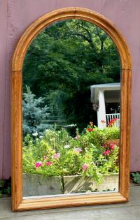 Antique American Victorian Chestnut Oval Top Mirror circa 1870
