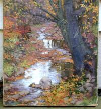 Oil on canvas of Black Creek by Victor C Anderson