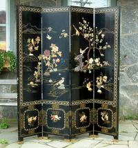 Antique Chinese Oriental 4 Panel Screen with soap stone