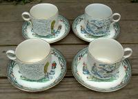 Set of 4 Vintage Staffordshire Breakfast Cup and Saucer Set circa 1920