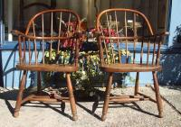 Antique 19th Century Pair of Oak Firehouse Windsor Arm Chairs
