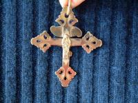 Solid 18k gold early French jewelry religious cross