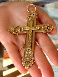Antique Solid gold French jewelry cross with fine baroque detail