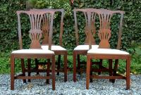 Antique set of 4 Mahogany Chippendale Style Side Chairs circa 1870