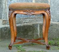 Antique French centennial carved walnut needlepoint vanity bench