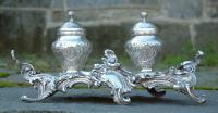 Antique French Sterling Silver Ink Wells