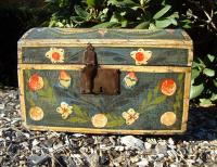 Antique French dome top painted Marriage Box