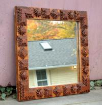 Antique American Tramp Art Square Mirror circa 1900