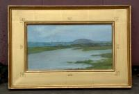 Antique New Haven Area Marsh Scene Oil on Canvas by Jennie Burr circa 1900