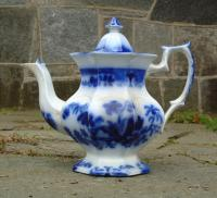 Antique English Challinor Shell pattern Flow blue porcelain teapot