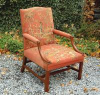 Antique American needlepoint Lolling Chair