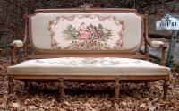 Antique French Settee Sofa Carved Frame