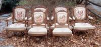Set of 6 Antique French upholstered carved walnut Chairs