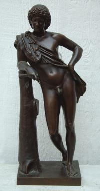 Antique Bronze Cast Sculpture Nude Man with a Horn