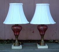 Antique 19th Century Cranberry Glass Pair of Electrified Oil Lamps