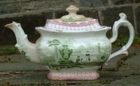 Antique English Transferware Porcelain Tea Pot