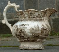 Antique English Porcelain Transferware Water Pitcher
