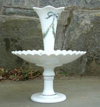 Antique French Milk Glass Compote with Flower Flute circa 1900
