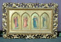 Antique Italian panel wall paintings angels playing musical instruments