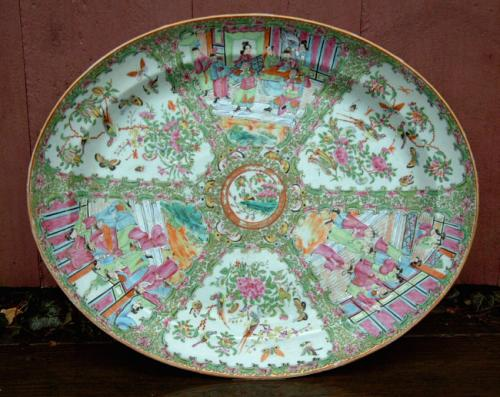 Antique Chinese Rose Medallion oval porcelain platter