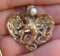Antique French Art Nouveau Gryphon or Griffin gold pin