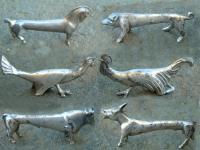 Antique French silver plated animal knife rests