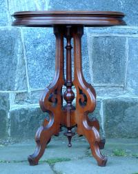 Antique Victorian furniture Walnut oval parlor table