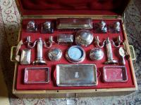 French silver toilet set made by Aucoc in Paris