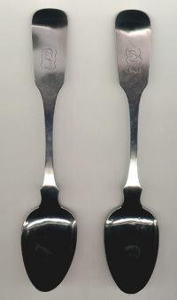 Pair J C Farr coin silver tablespoons Boston C1810 to 1820