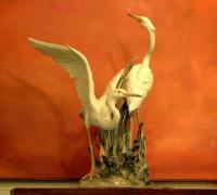 Important LLadro Porcelain porcelain sculpture of Birds Hand Made in Spain