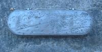 Antique French Engraved car racing Pewter covered box