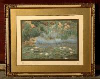 Wallace Nutting hand colored print A Small Lily Pool