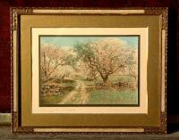 Wallace Nutting hand colored Print Through the Orchard