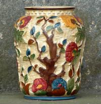 Antique Indian Tree Hand Painted Staffordshire England Porcelain Vase