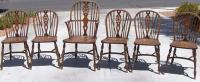 Set of 6 period English Wheel back chairs c1780