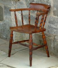 Antique Low Bow Back Windsor Smokers Arm Chair